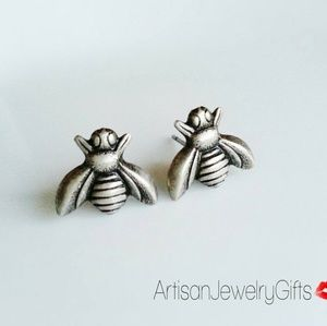 Hypo-Allergenic Sterling Silver Bee Stud Earrings